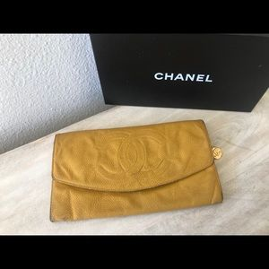 Authentic chanel beige camel WOC clutch wallet bag 5a81c6529700d